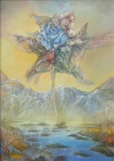 pejzaz z niebieska roza