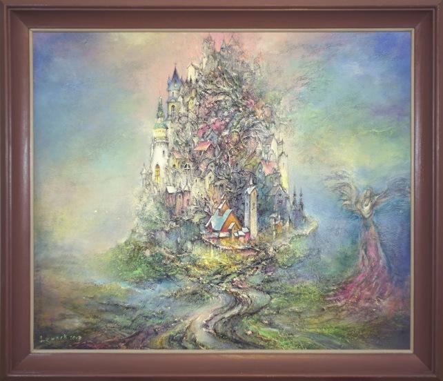 Pejzaż z aniołem, 65x54,5, płyta, akryl